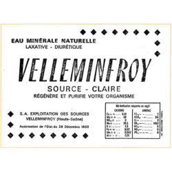 Etiquette bouteille eau minérale Velleminfroy 1950