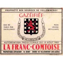 Ancienne étiquette bouteille eau minérale Velleminfroy avec armoiries