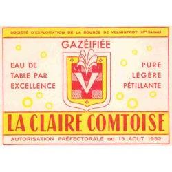 Ancienne étiquette bouteille gazéifiée Velleminfroy