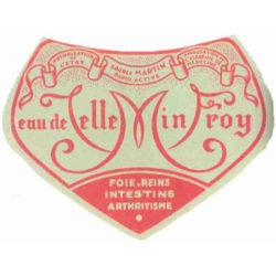 Ancienne étiquette eau de Velleminfroy source Martin