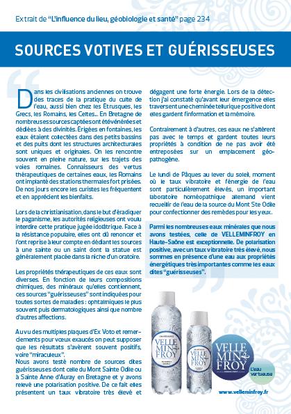L'eau minérale de Velleminfroy est mentionnée dans le livre de géobiologie L'influence du lieu