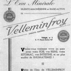 Ancienne pub bienfaits Velleminfroy coté recto