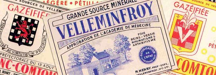 Anciennes étiquettes bouteille eau de Velleminfroy
