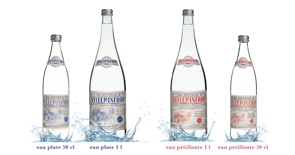 Gamme eau vintage plate et pétillante