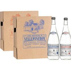 Edition limitée - Eau Minérale Plate et Pétillante bouteille en verre J-M Turin 1 carton de 6 x 1 L plate + 1 carton de 6 x 1 L pétillante