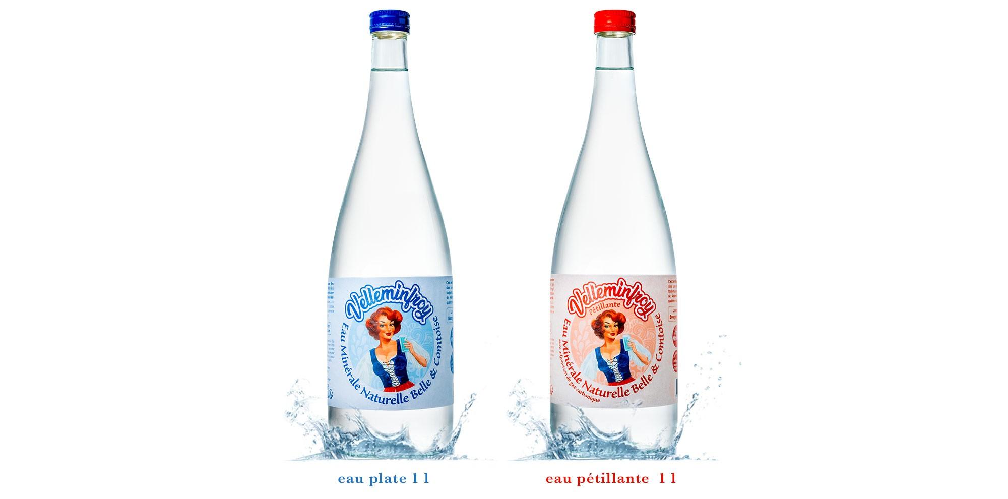 Gamme Belle et Comtoise plat et pétillant bouteille en verre